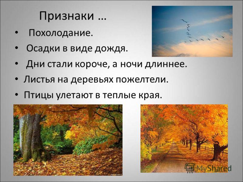 Признаки … Похолодание. Осадки в виде дождя. Дни стали короче, а ночи длиннее. Листья на деревьях пожелтели. Птицы улетают в теплые края.