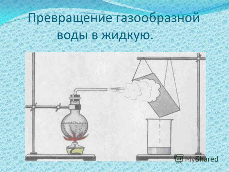 Превращение газообразной воды в жидкую.
