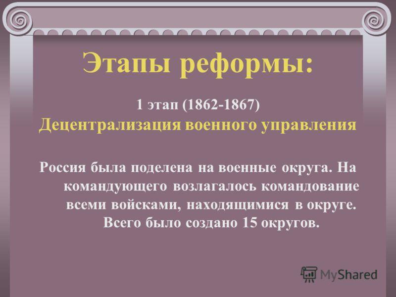 Этапы реформы: 1 этап (1862-1867) Децентрализация военного управления Россия была поделена на военные округа. На командующего возлагалось командование всеми войсками, находящимися в округе. Всего было создано 15 округов.