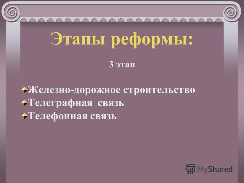Этапы реформы: 3 этап Железно-дорожное строительство Телеграфная связь Телефонная связь