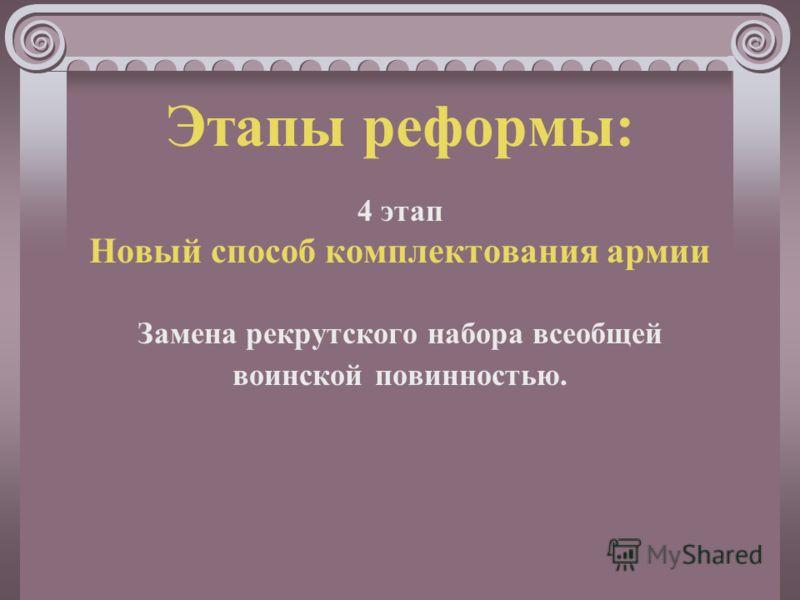 Этапы реформы: 4 этап Новый способ комплектования армии Замена рекрутского набора всеобщей воинской повинностью.