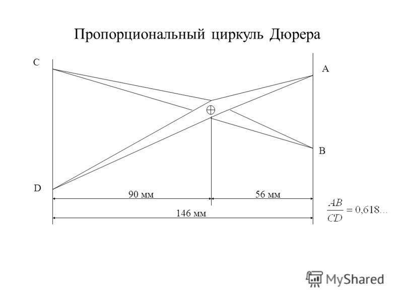 Пропорциональный циркуль Дюрера С D A B 90 мм56 мм 146 мм