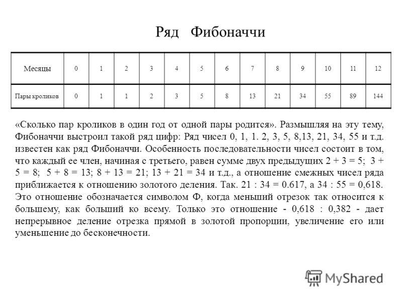 Ряд Фибоначчи Месяцы 0123456789101112 Пары кроликов01123581321345589144 «Сколько пар кроликов в один год от одной пары родится». Размышляя на эту тему, Фибоначчи выстроил такой ряд цифр: Ряд чисел 0, 1, 1. 2, 3, 5, 8,13, 21, 34, 55 и т.д. известен ка