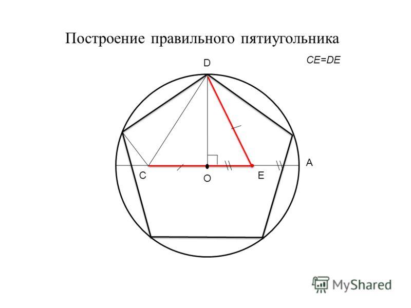 CE=DE Построение правильного пятиугольника D O A E C