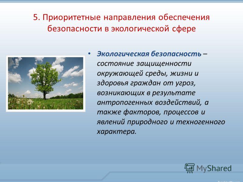 5. Приоритетные направления обеспечения безопасности в экологической сфере Экологическая безопасность – состояние защищенности окружающей среды, жизни и здоровья граждан от угроз, возникающих в результате антропогенных воздействий, а также факторов,