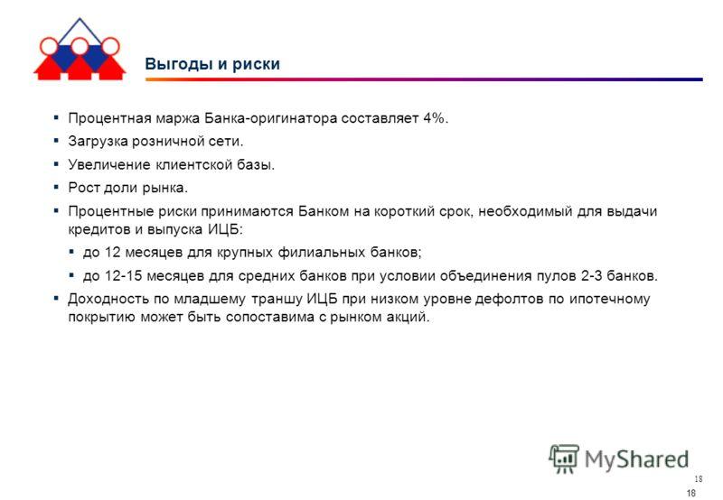 18 Выгоды и риски Процентная маржа Банка-оригинатора составляет 4%. Загрузка розничной сети. Увеличение клиентской базы. Рост доли рынка. Процентные риски принимаются Банком на короткий срок, необходимый для выдачи кредитов и выпуска ИЦБ: до 12 месяц
