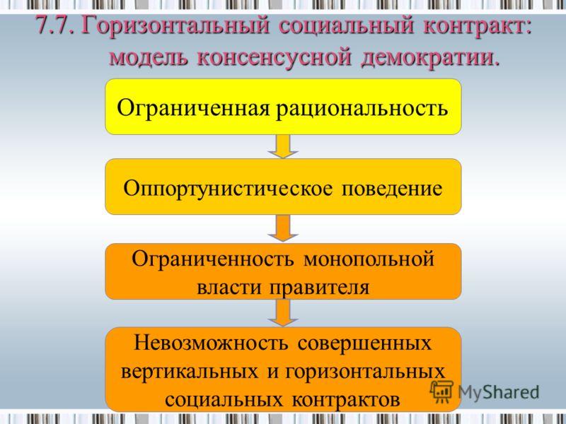 Оппортунистическое поведение Ограниченность монопольной власти правителя Ограниченная рациональность 7.7. Горизонтальный социальный контракт: модель консенсусной демократии. Невозможность совершенных вертикальных и горизонтальных социальных контракто