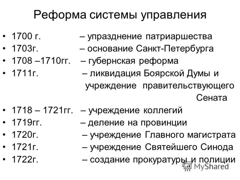 Реформа системы управления 1700 г. – упразднение патриаршества 1703г. – основание Санкт-Петербурга 1708 –1710гг. – губернская реформа 1711г. – ликвидация Боярской Думы и учреждение правительствующего Сената 1718 – 1721гг. – учреждение коллегий 1719гг