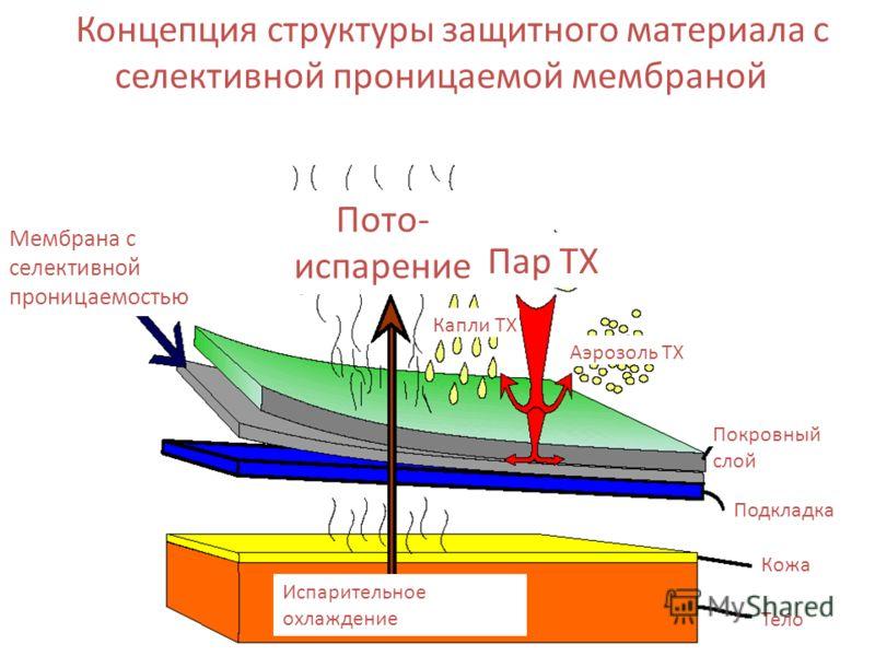Концепция структуры защитного материала с селективной проницаемой мембраной Мембрана с селективной проницаемостью Пото- испарение Пар ТХ Испарительное охлаждение Тело Кожа Подкладка Покровный слой Аэрозоль ТХ Капли ТХ