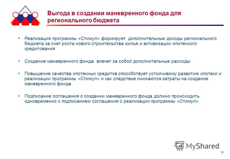 10 Выгода в создании маневренного фонда для регионального бюджета Реализация программы «Стимул» формирует дополнительные доходы регионального бюджета за счет роста нового строительства жилья и активизации ипотечного кредитования Создание маневренного