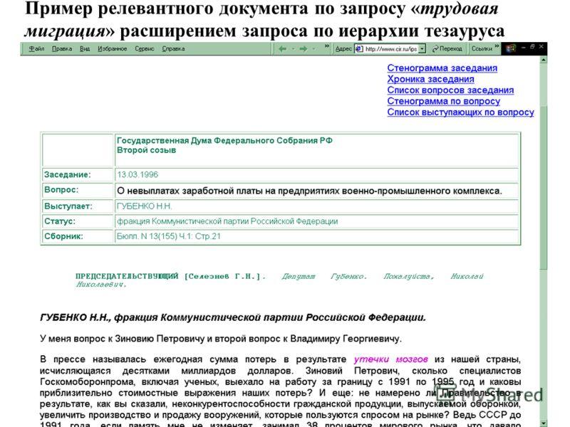 Пример релевантного документа по запросу «трудовая миграция» расширением запроса по иерархии тезауруса
