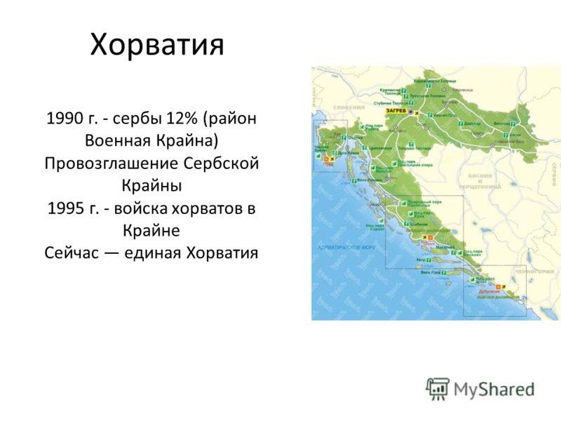 Хорватия 1990 г. - сербы 12% (район Военная Крайна) Провозглашение Сербской Крайны 1995 г. - войска хорватов в Крайне Сейчас единая Хорватия