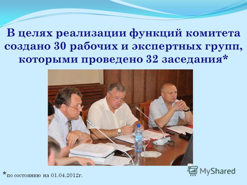 В целях реализации функций комитета создано 30 рабочих и экспертных групп, которыми проведено 32 заседания* * по состоянию на 01.04.2012г.