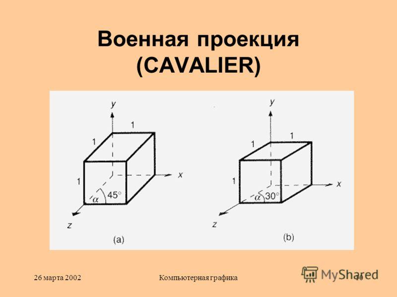 26 марта 2002Компьютерная графика10 Военная проекция (CAVALIER)