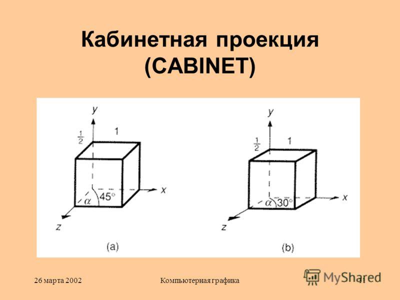 26 марта 2002Компьютерная графика11 Кабинетная проекция (CABINET)