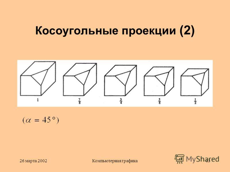 26 марта 2002Компьютерная графика13 Косоугольные проекции (2)