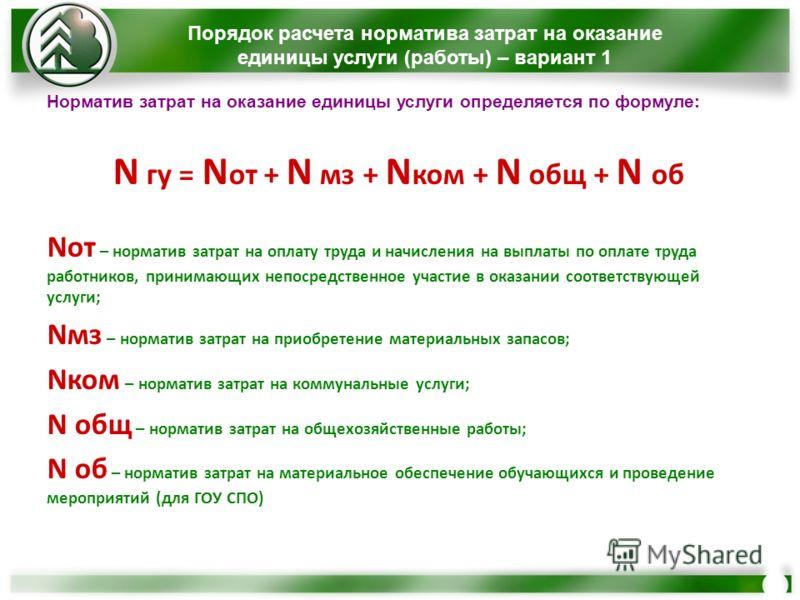 Норматив затрат на оказание единицы услуги определяется по формуле: N гу = N от + N мз + N ком + N общ + N об Nот – норматив затрат на оплату труда и начисления на выплаты по оплате труда работников, принимающих непосредственное участие в оказании со