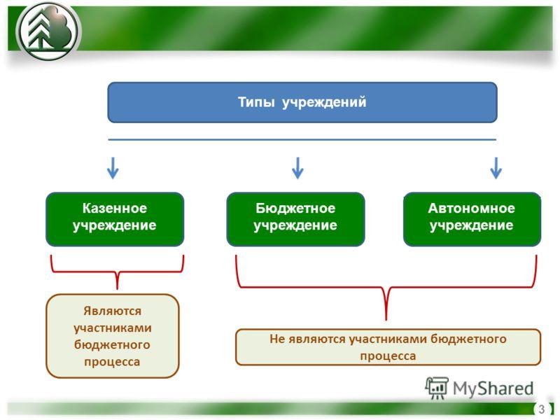 3 Типы учреждений Казенное учреждение Бюджетное учреждение Автономное учреждение Являются участниками бюджетного процесса Не являются участниками бюджетного процесса