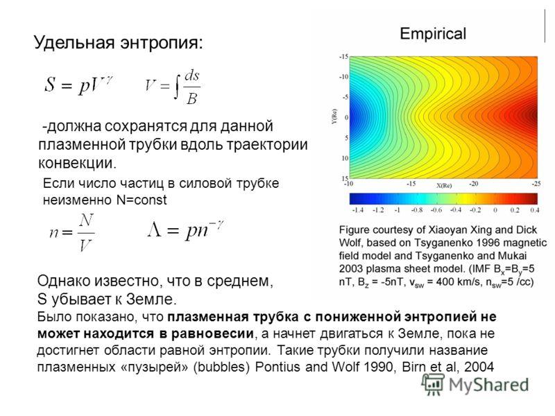 -должна сохранятся для данной плазменной трубки вдоль траектории конвекции. Удельная энтропия: Если число частиц в силовой трубке неизменно N=const Однако известно, что в среднем, S убывает к Земле. Было показано, что плазменная трубка с пониженной э