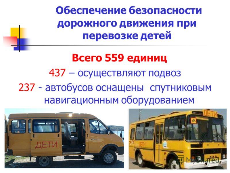 Обеспечение безопасности дорожного движения при перевозке детей Всего 559 единиц 437 – осуществляют подвоз 237 - автобусов оснащены спутниковым навигационным оборудованием