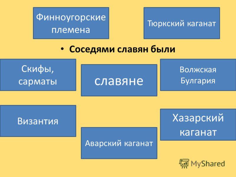 Соседями славян были славяне Хазарский каганат Аварский каганат Скифы, сарматы Тюркский каганат Финноугорские племена Византия Волжская Булгария