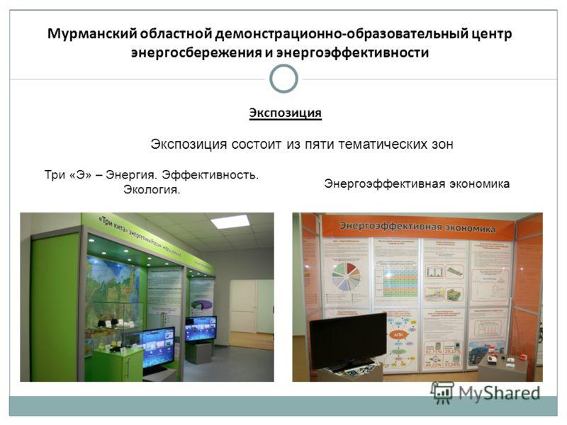 Мурманский областной демонстрационно-образовательный центр энергосбережения и энергоэффективности Экспозиция состоит из пяти тематических зон Три «Э» – Энергия. Эффективность. Экология. Энергоэффективная экономика Экспозиция