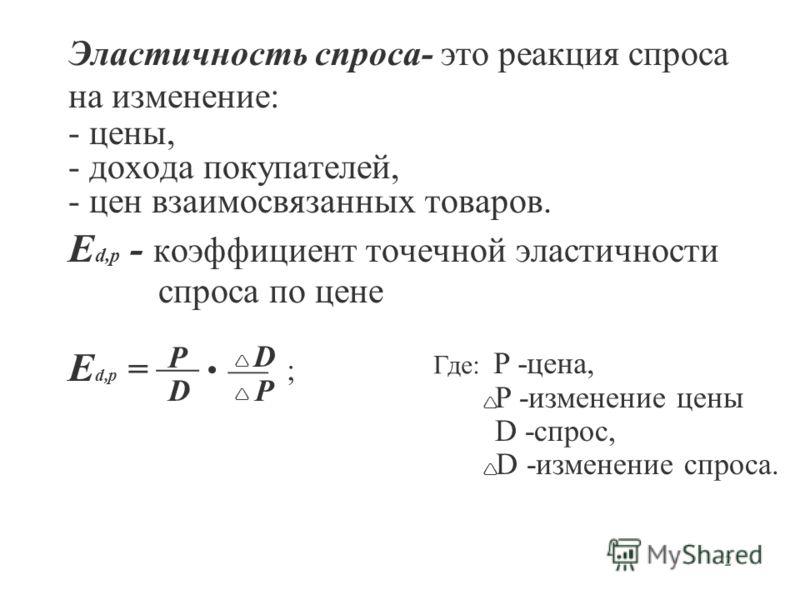 2 Эластичность спроса- это реакция спроса на изменение: - цены, - дохода покупателей, - цен взаимосвязанных товаров. E d,p - коэффициент точечной эластичности спроса по цене E d,p = P D D P ; Где: P -цена, P -изменение цены D -спрос, D -изменение спр