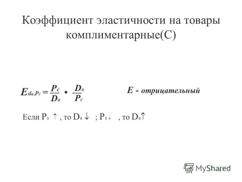6 Коэффициент эластичности на товары комплиментарные(С) E d a, P c = PcPc DaDa DaDa PcPc E - отрицательный Если P s, то D a ; P s, то D a