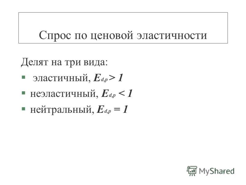7 Спрос по ценовой эластичности Делят на три вида: § эластичный, E d,p > 1 §неэластичный, E d,p < 1 §нейтральный, E d,p = 1