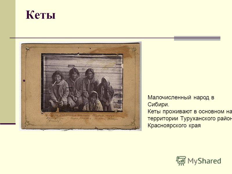 Кеты Малочисленный народ в Сибири. Кеты проживают в основном на территории Туруханского района Красноярского края
