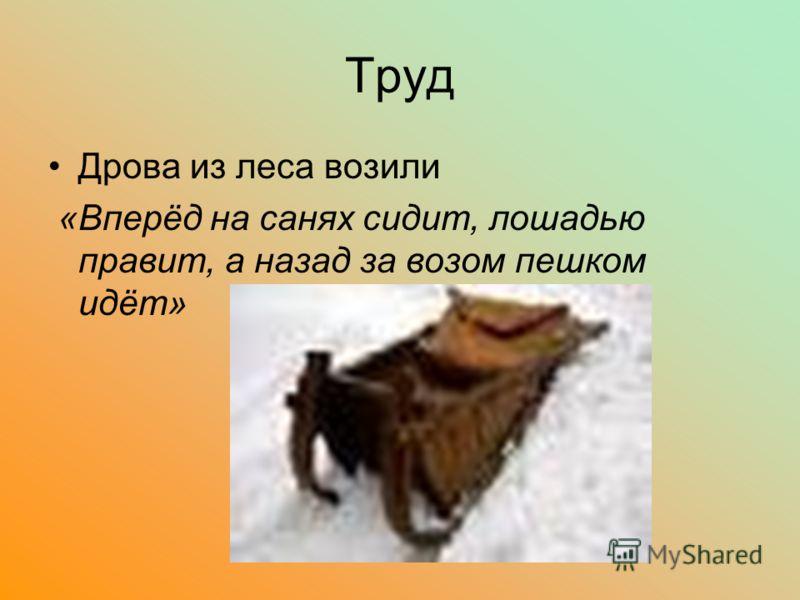 Труд Дрова из леса возили «Вперёд на санях сидит, лошадью правит, а назад за возом пешком идёт»