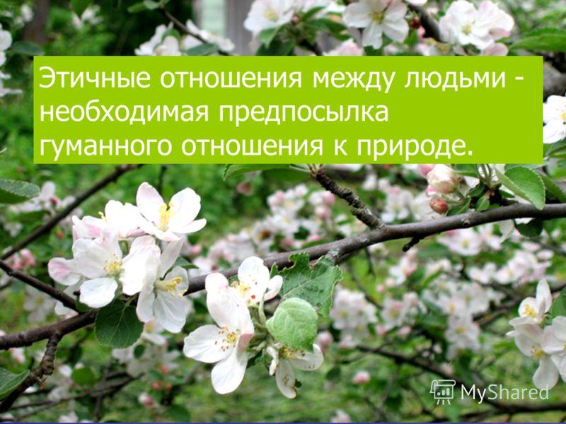Этичные отношения между людьми - необходимая предпосылка гуманного отношения к природе.