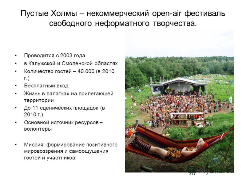Пустые Холмы – некоммерческий open-air фестиваль свободного неформатного творчества. Проводится с 2003 года в Калужской и Смоленской областях Количество гостей – 40.000 (в 2010 г.) Бесплатный вход Жизнь в палатках на прилегающей территории До 11 сцен