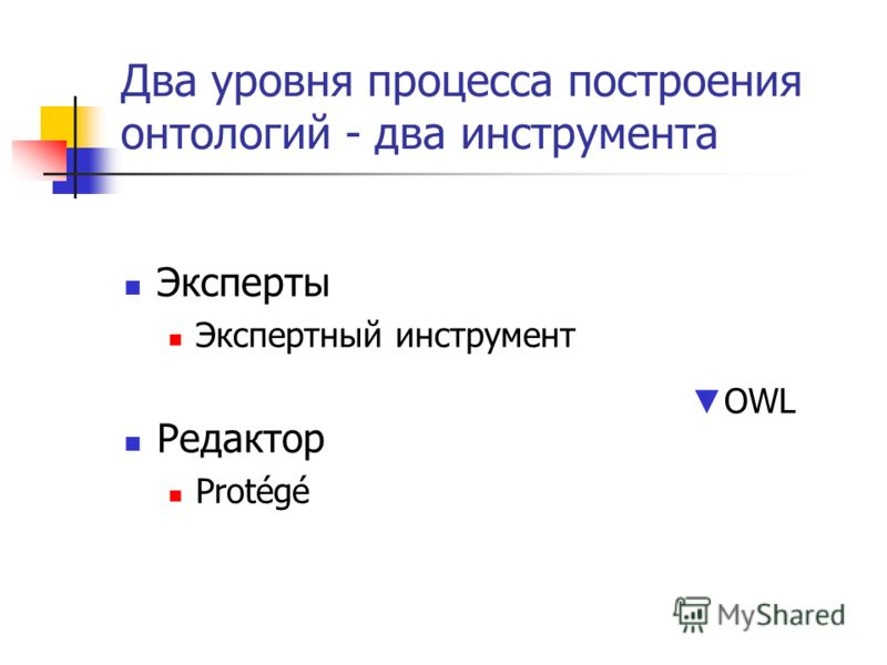 Два уровня процесса построения онтологий - два инструмента Эксперты Экспертный инструмент Редактор Protégé OWL