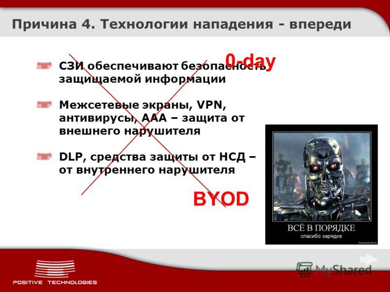Причина 4. Технологии нападения - впереди СЗИ обеспечивают безопасность защищаемой информации Межсетевые экраны, VPN, антивирусы, ААА – защита от внешнего нарушителя DLP, средства защиты от НСД – от внутреннего нарушителя 0-day BYOD