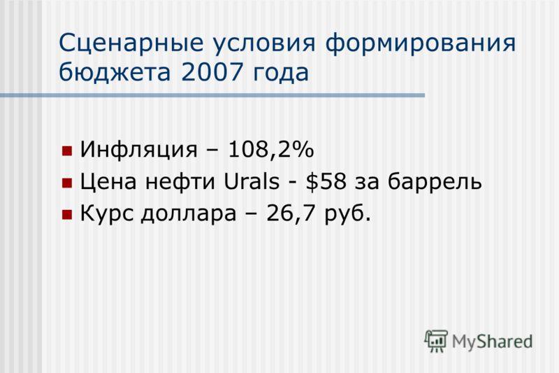 Сценарные условия формирования бюджета 2007 года Инфляция – 108,2% Цена нефти Urals - $58 за баррель Курс доллара – 26,7 руб.
