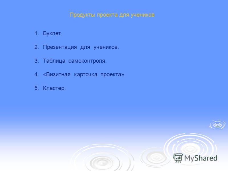 Продукты проекта для учеников 1.Буклет. 2.Презентация для учеников. 3.Таблица самоконтроля. 4.«Визитная карточка проекта» 5.Кластер.