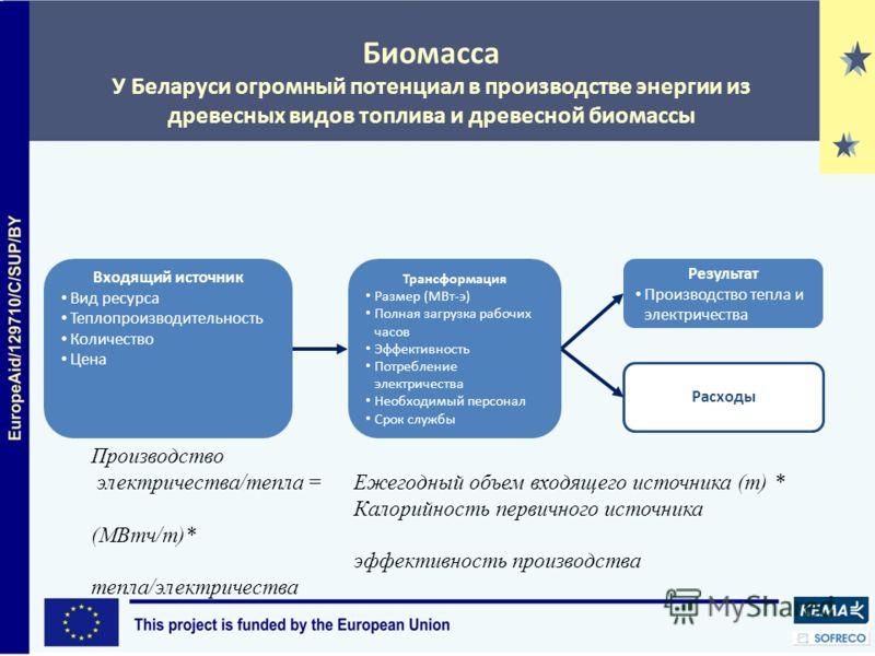 Биомасса У Беларуси огромный потенциал в производстве энергии из древесных видов топлива и древесной биомассы Входящий источник Вид ресурса Теплопроизводительность Количество Цена Трансформация Размер (МВт-э) Полная загрузка рабочих часов Эффективнос