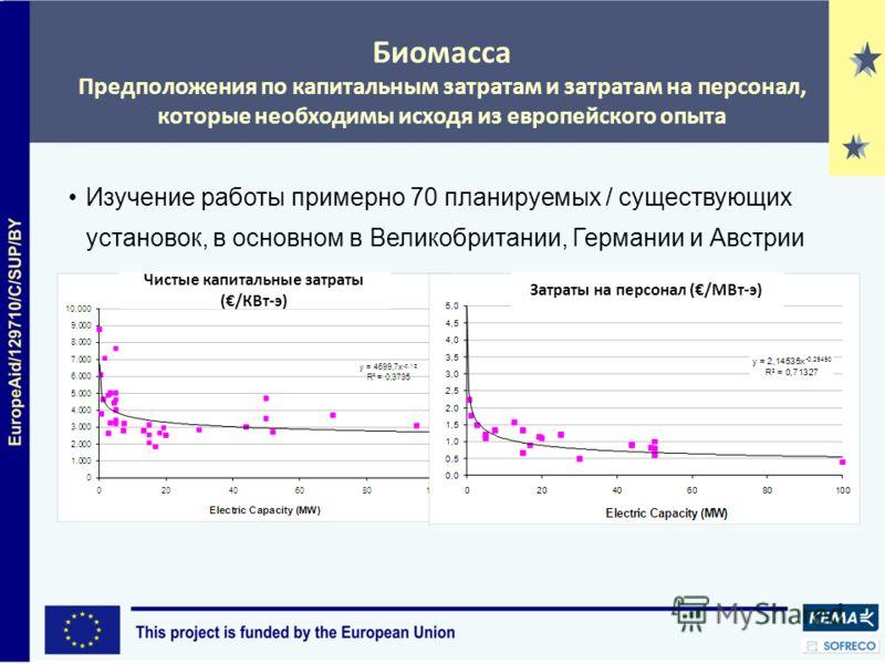 Биомасса Предположения по капитальным затратам и затратам на персонал, которые необходимы исходя из европейского опыта Изучение работы примерно 70 планируемых / существующих установок, в основном в Великобритании, Германии и Австрии Чистые капитальны