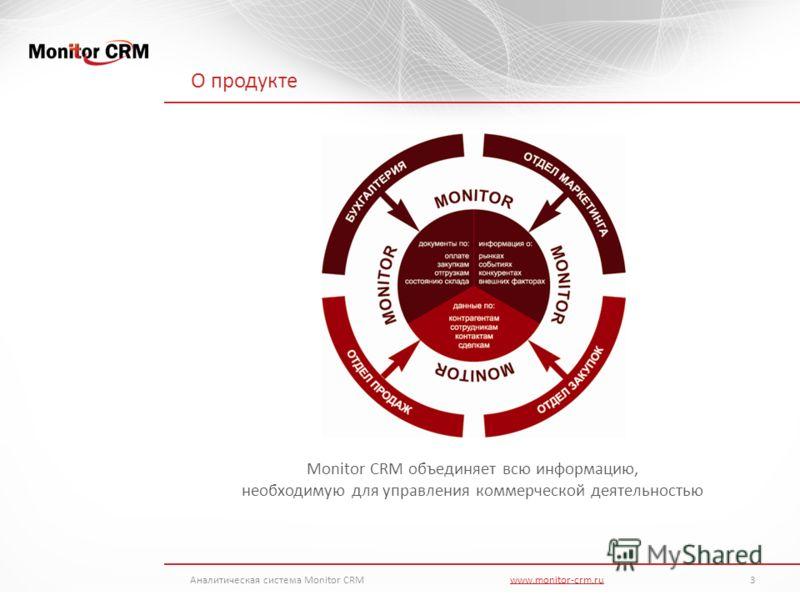 О продукте Monitor CRM объединяет всю информацию, необходимую для управления коммерческой деятельностью Аналитическая система Monitor CRMwww.monitor-crm.ru 3www.monitor-crm.ru