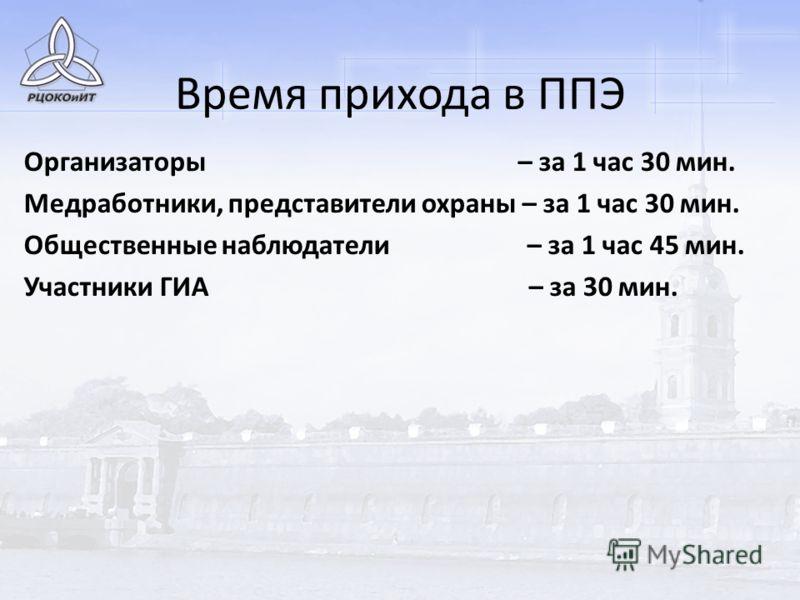 Время прихода в ППЭ Организаторы – за 1 час 30 мин. Медработники, представители охраны – за 1 час 30 мин. Общественные наблюдатели – за 1 час 45 мин. Участники ГИА – за 30 мин.