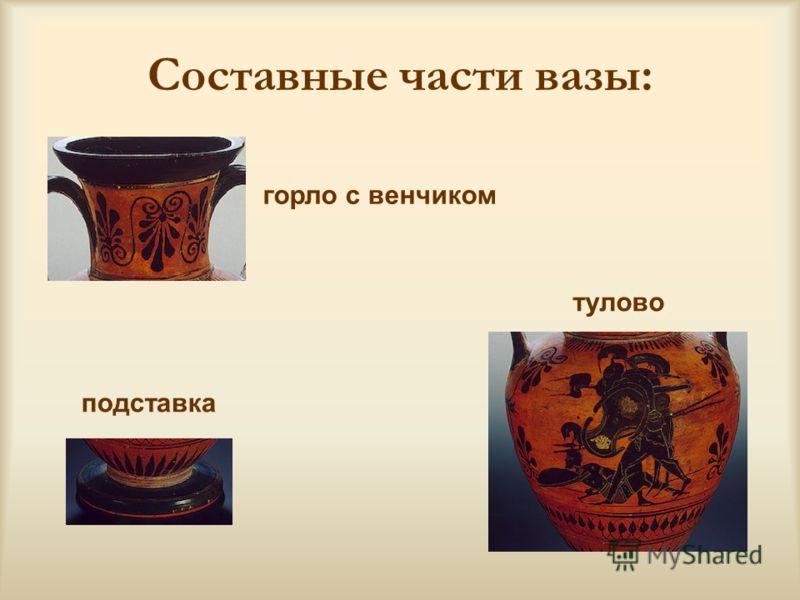 Составные части вазы: горло с венчиком тулово подставка