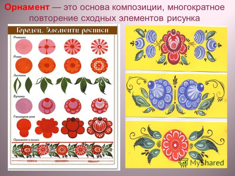 Орнамент это основа композиции, многократное повторение сходных элементов рисунка