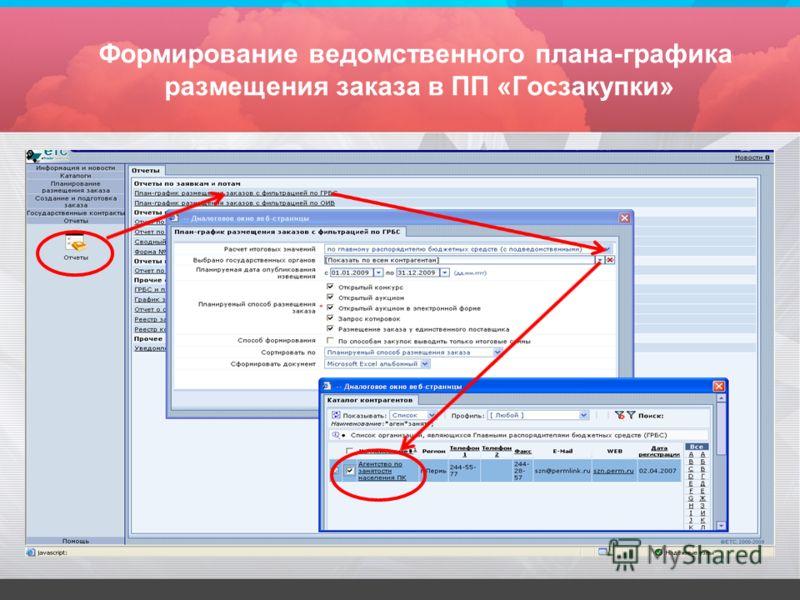 Формирование ведомственного плана-графика размещения заказа в ПП «Госзакупки»