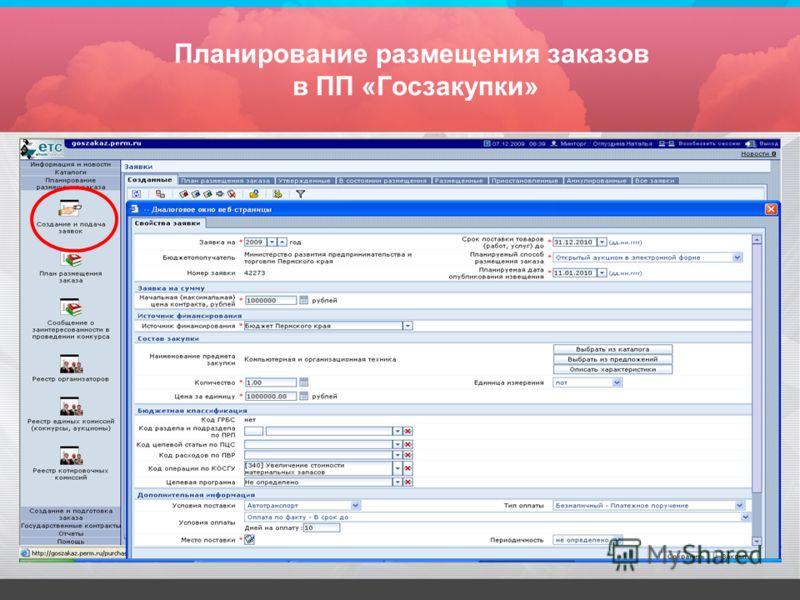Планирование размещения заказов в ПП «Госзакупки»