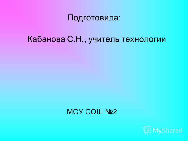 Подготовила: Кабанова С.Н., учитель технологии МОУ СОШ 2