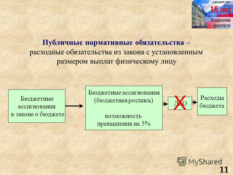 Публичные нормативные обязательства – расходные обязательства из закона с установленным размером выплат физическому лицу 11 Бюджетные ассигнования в законе о бюджете Бюджетные ассигнования (бюджетная роспись) возможность превышения на 5% ЛБО Расходы