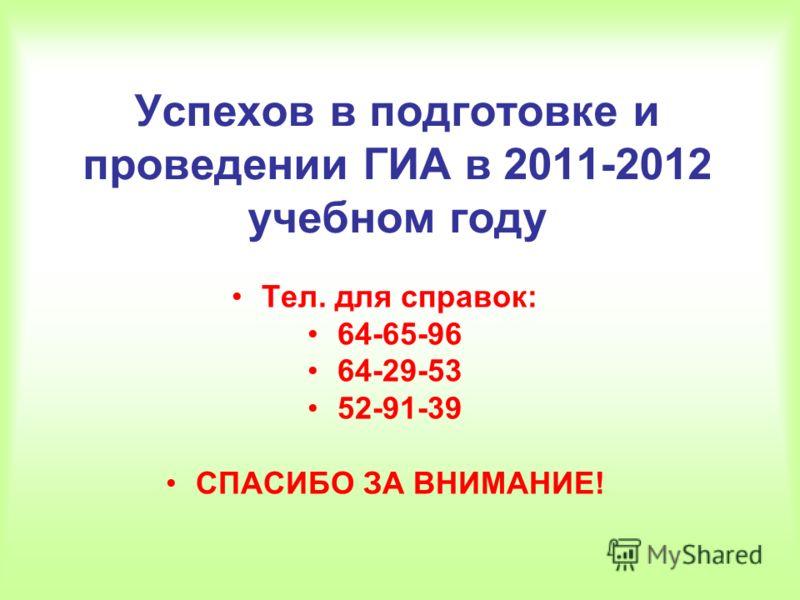 Успехов в подготовке и проведении ГИА в 2011-2012 учебном году Тел. для справок: 64-65-96 64-29-53 52-91-39 СПАСИБО ЗА ВНИМАНИЕ!