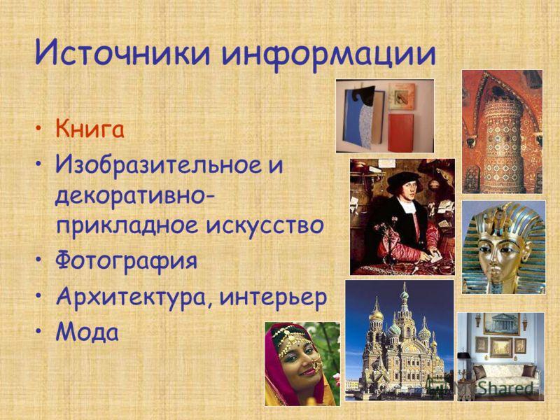Источники информации Книга Изобразительное и декоративно- прикладное искусство Фотография Архитектура, интерьер Мода
