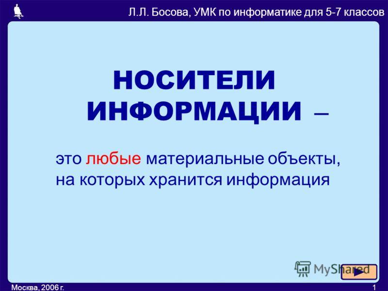Москва, 2006 г.1 НОСИТЕЛИ ИНФОРМАЦИИ Л.Л. Босова, УМК по информатике для 5-7 классов – это любые материальные объекты, на которых хранится информация